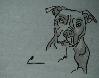 Pitbull Wall Art pit bull drawing | etsy