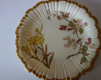 Royal Worcester hand painted and gilded plate 1891