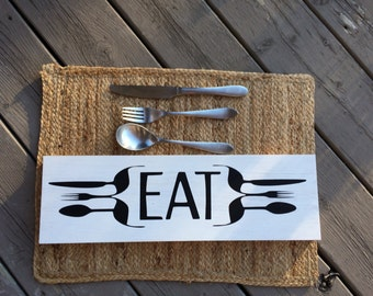 Eat Kitchen Sign // eat sign // kitchen sign // knife, fork, spoon // kitchen decor// kitchen wall decor // kitchen wall art
