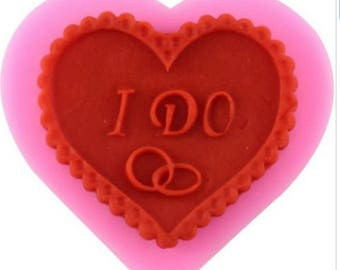 I Do Heart Shape Cupcake Topper Silicone Fondant Mould Mat