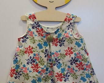 Floral Tank with Pleating Detail- Size 2T