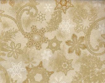 Holiday Flourish 9 - Per Yd - Robert Kaufman - Peggy Toole - Gold Stars on soft gold/cream