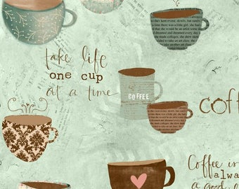 But First COFFEE! - Per Yard - Wilmington - Katie Doucette - Cups on Aqua