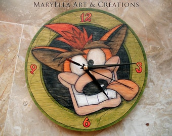 Crash Bandicoot wood wall Clock