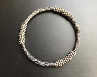 Silver Tone Textured Bohemian Bangle Bracelet