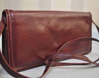 Vintage burgundy red solid genuine leather shoulder bag / evening bag / purse