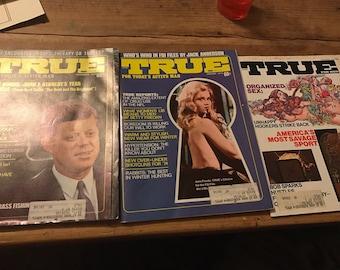1970's TRUE magazine lot of three magazines