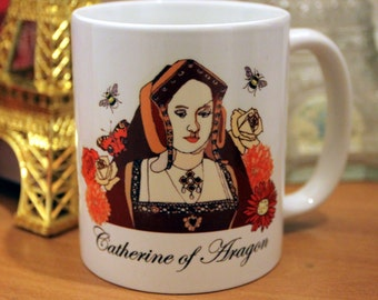 Catherine of Aragon mug - Henry VIII, Queen, England, Tudor, History, Great Britain, Flowers, Butterflies, Mug, Tea, Coffee cup