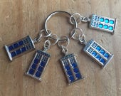 Doctor Who inspired Stitch Markers, Progress Markers, Knitting Markers, Crochet Markers - Set of 5