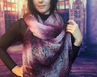 Maroon Hand knit shawl, Knit rainbow shawl, Knit lace shawl, maroon and blush shawl, HandKnit scarf, Handknit shawl, Lace wrap cherry maroon