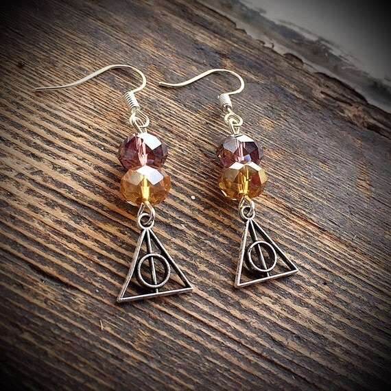 Harry potter earrings deathly hallows elder by for Deathly hallows elder wand