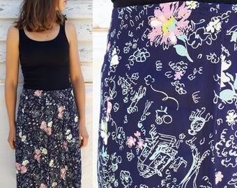 1940's Skirt / 40's Skirt / Vintage Skirt / Floral Skirt / Doodles and Flowers / Navy Blue Skirt