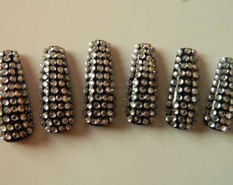 Extra Long Black Coffin Nails with Crystals.