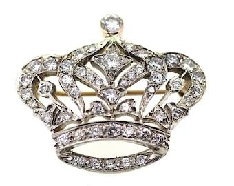 Coronation Celebration Brooch /Diamond Crown Pendant / Vintage Crown Brooch/Antique Diamond Brooch /Royal Crown Brooch /English Crown Brooch