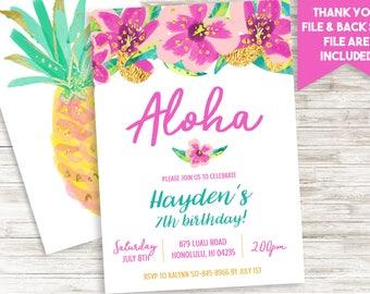 Aloha Birthday Invitation Invite Luau Hawaiian Girls Purple Turquoise Digital 5x7 Personalized ANY AGE