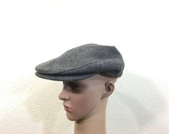 80's 100% wool newsboy cap gray color made in usa size 7 1/8