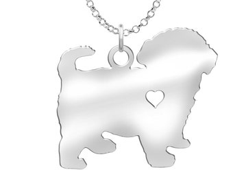 Maltipoo Necklace | Solid Sterling Silver | Maltipoo Silhouette Charm | Personalized Dog Jewelry | Dog Pendant | Maltipoo Earrings