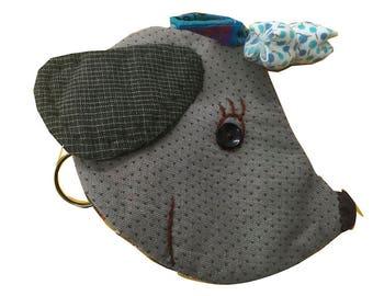 Fabric Handmade Dog Design keychain holder