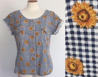 1990s navy gingham sunflower print blouse / tie front blouse / 90s crop top / small medium large S M L