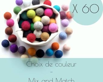 60 Felt balls/2.5 cm/wool pompom/DIY/bulk/choice of color/multicolor/felting/wholesale/creative project/Québec/Canada