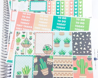 Summer cacti Weekly Kit | Planner Stickers, Weekly Kit, Spring Weekly Kit, Vertical Planner Kit, succulemt Weekly Kit, cactus weekly kit