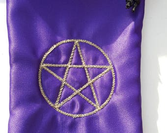 Embroidered Purple Satin Drawstring Pouch Bag - Pentacle