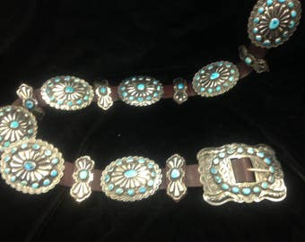1940's antique Navajo concho belt