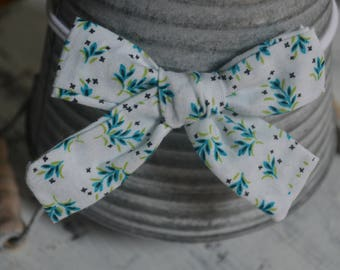White Turquoise Green Floral Tied Knot Hair Bow