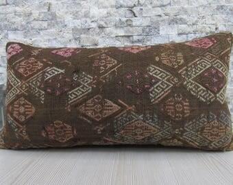 Old Rare Kilim Rug Handwoven Kilim Pillow 12x24 Decorative Pillow Kilim Cushion 12x24 Bohemian Pillow Throw Pillow Boho Pillow