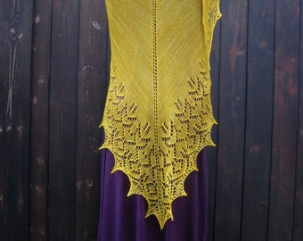 Giant Yellow Shawl Handmade Lace