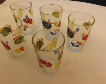 Set of five vintage lemonade glasses with fruit pattern