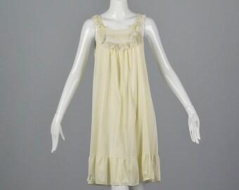 Medium Lacy Ivory Sleepwear Nylon Nightgown Vintage 1970s 70s Short Ruffle Hem Lingerie Night Gown Silky