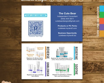 Rodan and Fields Business Cards / Blue / Block / Facebook Team Page / QR Code / Product Regimens / Color choices / Digital / Printable