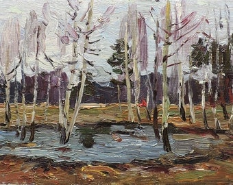 VINTAGE ORIGINAL OIL Painting by M.Borymchuk 1981, Woodland scenery Spring Forest Landscape Impressionist Soviet Ukrainian art One of a kind