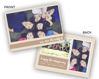 Thanksgiving Holiday Card - Fall Family Card Template - Photoshop PSD *INSTANT DOWNLOAD*