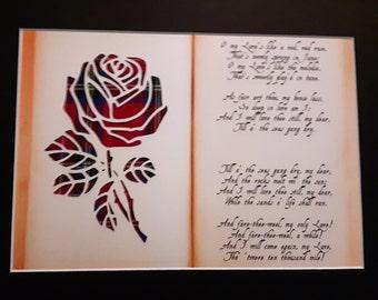 Rose & Robert Burns Poem Tartan Picture Scottish Gifts - A Red, Red Rose Poem