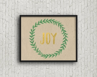 Joy (5x7, 8x10, 11x14 Prints Included!), Joy Sign, Joy Letters, Gold Foil Print, Printable Art, Joy Print, Joy Printable, Wall Art Prints