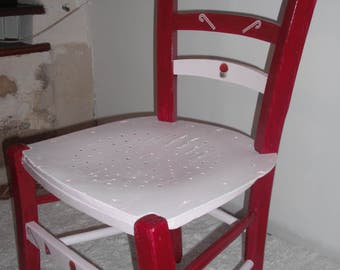 "Authentic child Chair of the years 1920/1930 revamped style ""candies"""