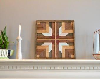 Wood wall art, brown/blue/silver/red/black, burst, decor, panel, pine, cedar, lath 18in x 18in