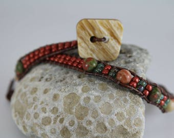 DOUBLE WRAP BRACELET - Beaded - Handcrafted - Brown -  Rust - Green - Free Shipping