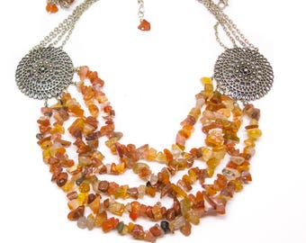 Multistrand carnelian necklace, Orange and Silver, Ethnic necklace, Tribal Fusion necklace, Bellydance necklace, filigree necklace