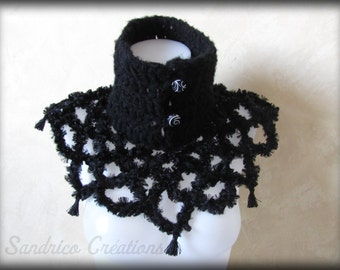 Knitted collar black neck stylish and elegant hand crochet buttons and tassels
