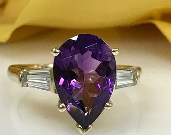 Amethyst Pear Shape 14K Yellow Gold Ring. Stunning!