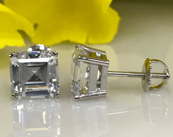 4.50 TCW Asscher Cut Simulated Diamond Solitaire Studs with Screwback Posts in 14K White Gold #5030