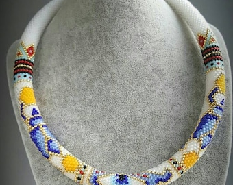 Beaded Crocheted Necklace Bead Crochet rope Necklace Seed Bead Necklace Gift for her