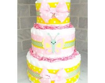 Diaper Cake - Butterfly Diaper Cake - Diaper Cake For Girls - Butterfly Baby Shower