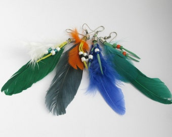 Blue, black, green and dark green feather earrings