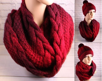 Snood knit neck scarf knit cowl neck warmer oversized scarf circle scarf women chunky snood cowl cable scarf oversized knit cowl neck