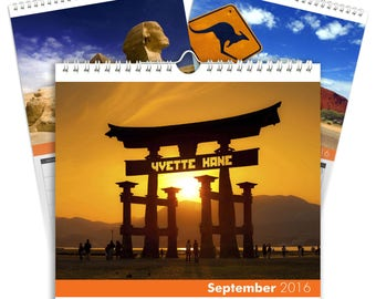 Personalised Around the World Calendar - Desktop Calendar