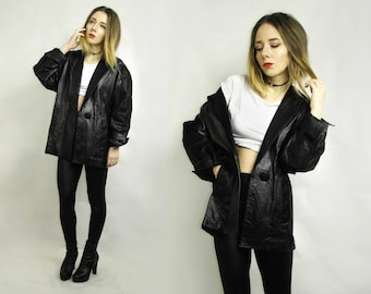 Leather Jacket / Black leather jacket / Vintage leather jacket / Made in Mexico /